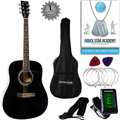 Stretton Payne Acoustic Guitar PACKAGE Full Size Dreadnought Steel String Black