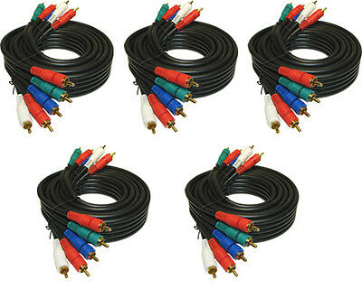 5 PACK LOT 12 ft 5RCA Component video with Audio cable for HD TV PLASMA HDTV LCD