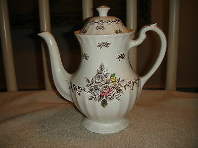 Vintage J & G Meakin Chatsworth Teapot-Staffordshire White Teapot-Floral Design