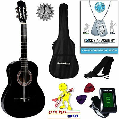 3/4 Size Nylon String Classical Child Kids Childrens Guitar Package Black