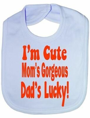 I'n Cute Daddys Lucky - Funny Baby/Toddler/Newborn Bibs - Baby Gift blue