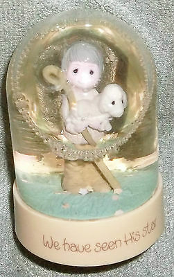 RARE Vintage Precious Moments snow water globe dome We have seen His star lamb &