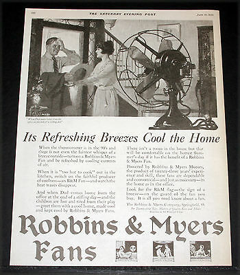 1920 Old Magazine Print Ad, Robbins & Myers Fans, Refreshing Breezes Cool, Art!