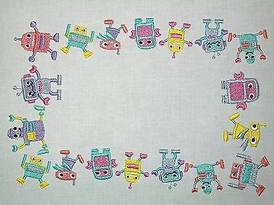 Robots Embroidered Quilt Label Customize for quilt tops or blocks