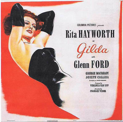 Red and White Gilda Rita Hayworth Vintage Movie 11x17 Landscape Poster