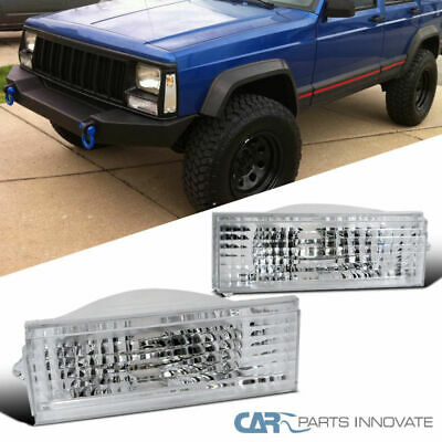 84-96 Jeep Cherokee Comanche Wagoneer XJ Clear Front Bumper Lights Parking Lamps