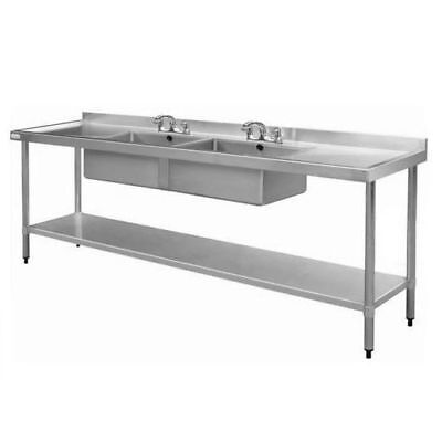 Dual Centre Sink w Drainer Commercial, Stainless Steel, 900x2400x600mm NEW