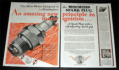 1927 Old 2-Pg Magazine Print Ad, Moto-Meter Spark Plugs, Self-Adjusting, Art!
