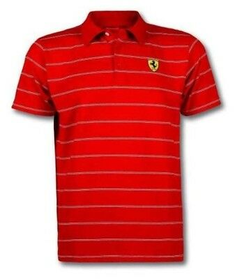 Ferrari Herren Polo Shirt Gr.M White Stripes gestreift