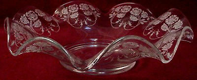 NEW MARTINSVILLE crystal WILD ROSE pattern CRIMPED BOWL 12-1/2""