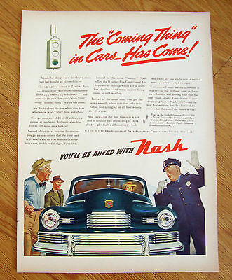 1946 Nash 600 Ambassador Ad  Traffic Cop The Coming Thing in Cars Has Come