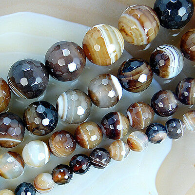 """4mm ~ 14mm Faceted Coffee Stripe Banded Agate Round Gemstone Loose Beads 15.5"""""""