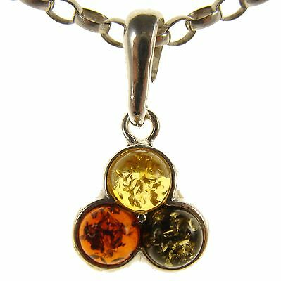 Gift Boxed Baltic Amber Sterling Silver 925 Circle Pendant Jewellery Jewelry