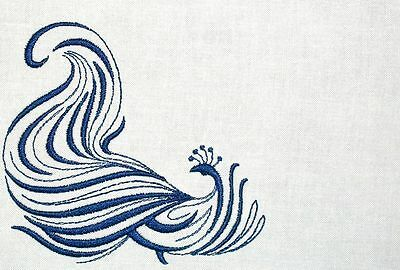 Peacock Filigree Embroidered Quilt Label Customize for quilt tops or blocks