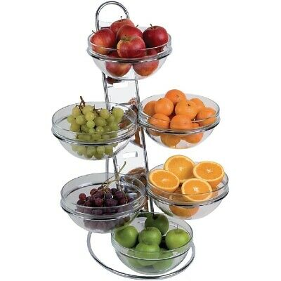 Buffet Food Display, Chrome Plated Ladder with 6 Glass Bowls, 675 x 485 x 445mm