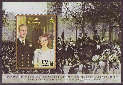 B.i.o.t. 2007 Diamond Wedding Miniature Sheet Unmounted Mint, Mnh