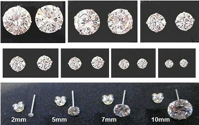 Sterling Silver - CZ Round Stud Earrings - BOXED - Choose Size: 2mm up to 10mm