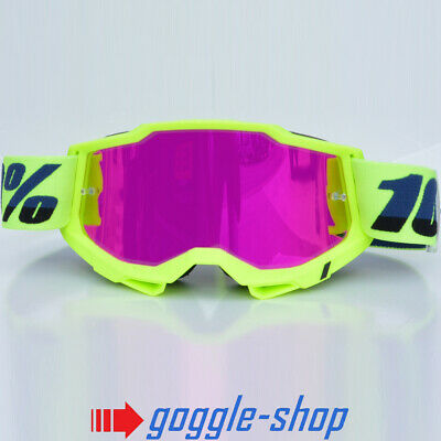 100% PERCENT ACCURI MX MOTOCROSS GOGGLES FLUO YELLOW with PINK MIRROR LENS bmx