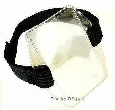 Arm Band Photo ID Vinyl Badge Holder Vertical with Black Strap - Best Price