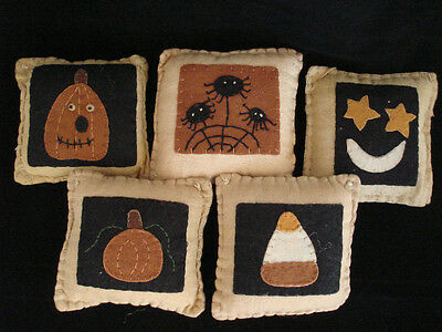 Primitive style Halloween Themed PILLOW Ornaments / bowl fillers Pumpkin Spider