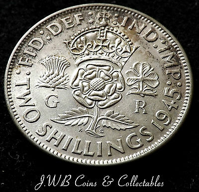 1945 George Vi .500 Silver Florin Coin  Two Shillings.