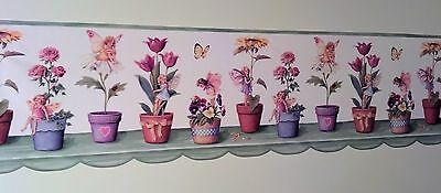 Fairies & Flowers in Pots Colorful DIECUT Wallpaper Border