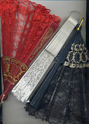 Folding Fan Lace Hand Held Victorian Ballroom Steampunk Vamp Black Red or White
