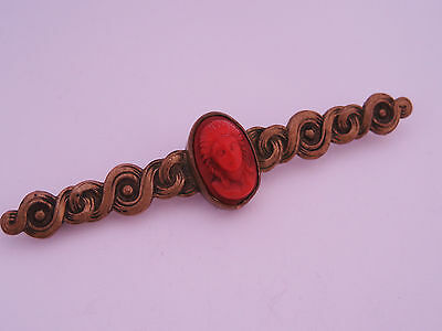 Antique Victorian Art Nouveau era Gold Over Brass Red Coral Cameo Pin Bar Brooch
