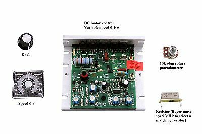 DC Motor Control, 90VDC, UP TO 1HP, W/SPEED POT & HARDWARE