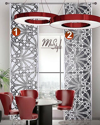 Contemporary Net Curtain Panel Black White Window Blind Fly Screen SLOT TOP