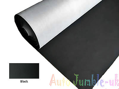 Black Faux Leather Interior Car Vinyl Cloth Dashboard Fabric Trimming Material