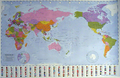 WORLD MAP POSTER 61x91cm NEW Flag Country information Australia center education