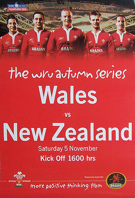 WALES v NEW ZEALAND 25 Nov 2006 MATCH ADVERTISING RUGBY POSTER