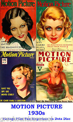 Motion Picture 1930s Vintage Collection Film Movie Screen Magazines on Data Disc