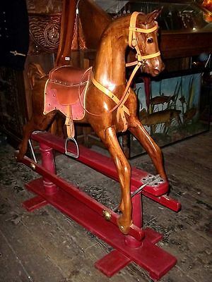 Full Size Mahogany Rocking Horse on Swing Stand, Hand Carved In Hampshire