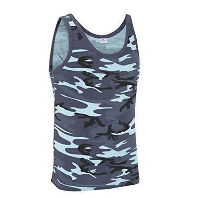 Army Vest Combat Men Tank Top Military Fancy Dress Sleeveless Midnight Blue Camo