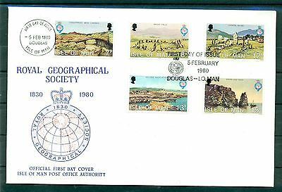 Isle of Man 1980 - Mi.159/63 -  FDC Royal Geographical Society