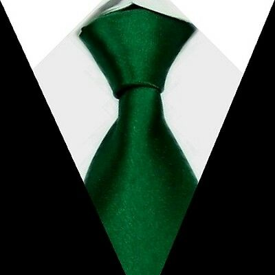 New formal wedding groom Solid Mens Silk Tie Dark Green Necktie S09