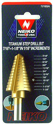 "NEIKO 10189A - 7/16"" to 1-1/8"" by 1/16"" Increments Titanium Step Drill Bit Tools"