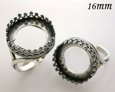 2Pcs Quality Cast 16mm Bezel Cup Ring for Setting  Antique Silver Plated 8482ASP