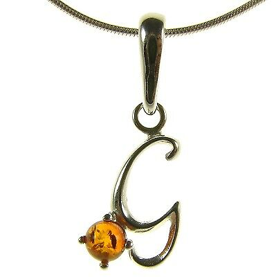 Baltic Amber Sterling Silver 925 Alphabet Letter G Pendant Jewellery Jewelry