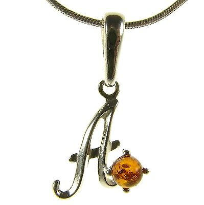 Baltic Amber Sterling Silver 925 Alphabet Letter A Pendant Jewellery Jewelry