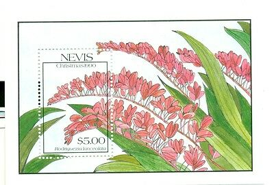 NATALE - CHRISTMAS NEVIS 1990 Orchidee Orchids block