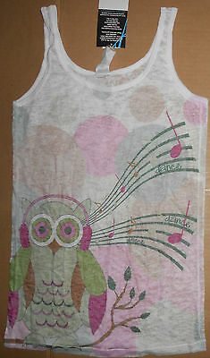NWT Heart and Soul Owl Burnout Tank Top Small Adult Style# DA276