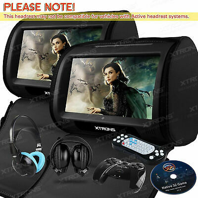 "XTRONS Black 2X Twin Car Headrest DVD Player 9"" Touchscreen Game &IR Headphone"