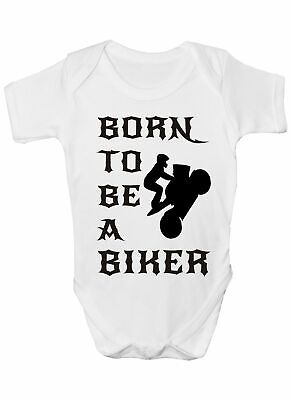 Born To Be A Biker Motorbike Babygrow Vest Baby Clothing Funny Gift