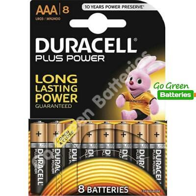 8 x Duracell AAA Plus Power Batteries - LR03, MN2400, MICRO.