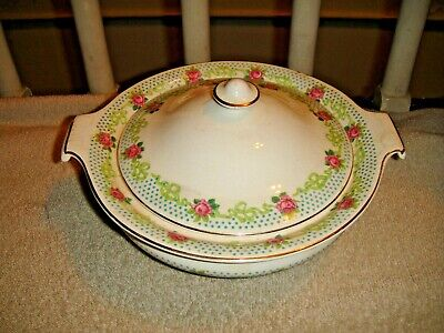 Vintage Derwood W.S. George Casserole Dish W/Lid-USA Made-1140-Rose Pattern