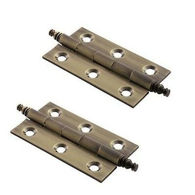 Finial Hinges for Cabinet Cupboard Doors PAIR Polished or Antique BRASS + Screws
