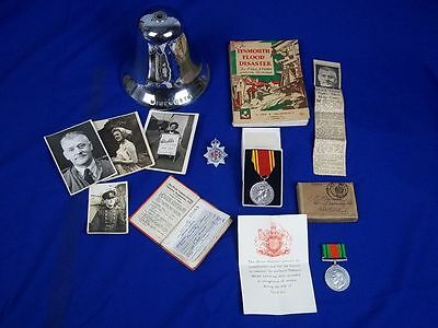Collection Of Fireman B Mansell - Lynmouth Flood Disaster 1953 - Bell Medals Etc